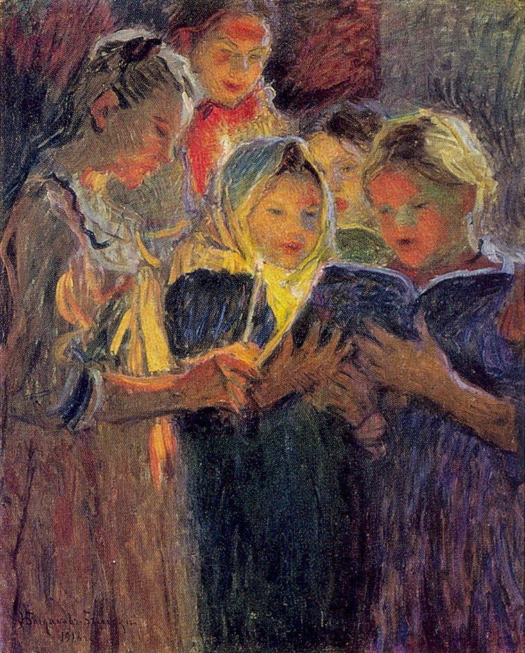 Nikolay Bogdanov-Belsky, Girls Chorus, 1916, 97.5 x 79.8 cm